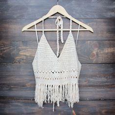 festival fringe knit halter top in sand
