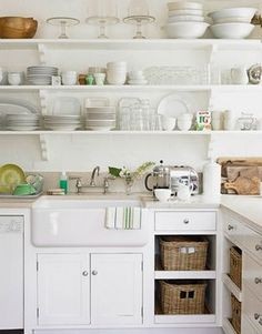 Pure Style Home: Open Shelving in the Kitchen- the great debate- something about this... clean