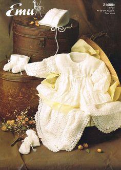 fd00e7652da493 baby matinee coat set and shawl vintage baby knitting pattern PDF Coat  Patterns