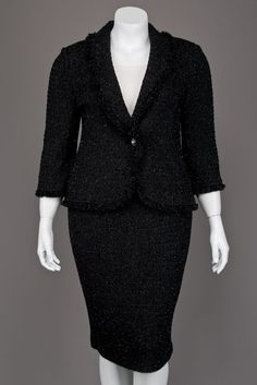 36fe10280e6c New St John Knits Caviar Black Shimmer Jacket   Skirt Suit Work Uniforms