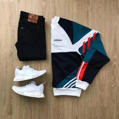 Retro vibes Please rate this outfit below Jeans: Sweatshirt: Retro Shoes: NMD . Mode Streetwear, Streetwear Fashion, Best Mens Fashion, Dope Fashion, Urban Fashion, Retro Fashion Mens, Fashion Trends, Womens Fashion, Stylish Clothes