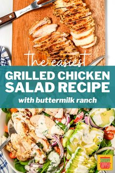 My Grilled Chicken Salad with Buttermilk Ranch Dressing is an easy summer salad recipe with so much flavor! Complete with crisp, fresh veggies and deliciously creamy buttermilk ranch dressing, you can make this simple salad using freshly grilled chicken or leftovers. Easy Summer Salads, Summer Salad Recipes, Salad Recipes For Dinner, Dinner Salads, Easy Salads, Fried Chicken Sandwich, Grilled Chicken Salad, Grilled Chicken Recipes, Easy Chicken Recipes