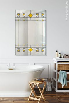 """Discover the art deco gold mirror for the wall, """"Marietta,"""" a tall vanity mirror that will be an artful focal point in your home. Click to see more. . . . #mirrorwalldecor #mosaicmirror #decorativemirror #entrywayideas Craftsman Decor, Modern Craftsman, Modern Bathroom Decor, Home Decor Kitchen, Art Deco Decor, Wall Decor, Wall Art, Decoration, Tall Wall Mirrors"""