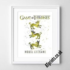 GAME OF THRONES  house clegane Watercolor Poster Print