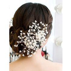 Aliexpress.com: Comprar Hermosas mujeres elegantes para mujer Floral de la boda cristalino de la perla del partido nupcial dama de honor del peine del pelo de la joyería de la horquilla accesorios para el cabello de accesorios de la muñeca fiable proveedores en happybuynow