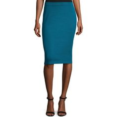 St. John Signature Santana Knit Pencil Skirt (4 390 UAH) ❤ liked on Polyvore featuring skirts, blue, st. john, st john skirt, blue pencil skirt, knit skirt and blue skirt