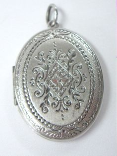 Vintage Inscribed Silver Locket Necklace Pendant