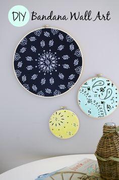 bandana + embroidery hoop = instant wall art