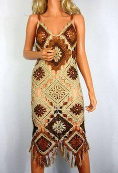 A urowa zrobiona r cznie na lato-sukienka bawe niana Etsy Crochet Beach Dress, Crochet Summer Dresses, Crochet Skirts, Crochet Clothes, Knit Dress, Crochet Bikini, Crochet Shawl, Knit Crochet, Hippie Crochet