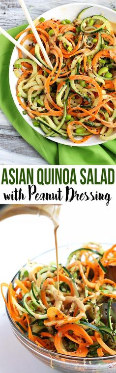 Asian Quinoa Salad // cucumber & carrot noodles with creamy peanut dressing #veggielove #takeout