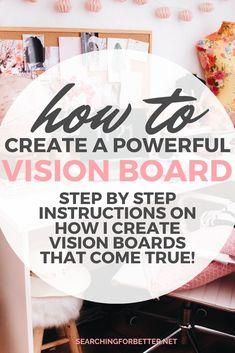 This post has step by step instructions on how I created vision boards that have come true! It's a great way to create an inspiring vision for yourself based on your goal setting! Digital Vision Board, Vision Board Template, Spiritual Manifestation, Creating A Vision Board, Self Care Activities, How To Better Yourself, Create Yourself, Self Help, Goal Board