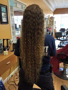 piggyback perm in super long hair