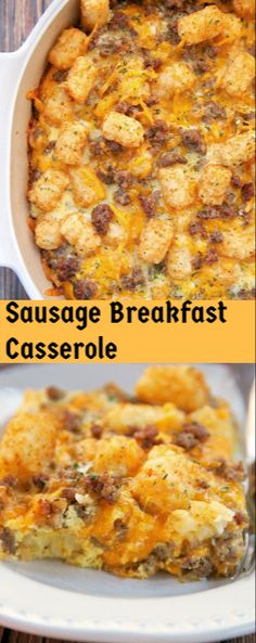 The Chunky Chef: Sausage Breakfast Casserole Tater Tot Breakfast Casserole, Sausage Breakfast, Breakfast Dishes, Breakfast Recipes, Breakfast Ideas, Fun Cooking, Cooking Recipes, Easy Recipes, Sausage Recipes