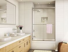 Comely Sliding Glass Shower Doors Desigs For Modern Apartment Bathroom with Maple Vanity Cabinets Bathroom Shower Doors, Frameless Sliding Shower Doors, Glass Shower Doors, Small Bathroom, Bathroom Ideas, Lake Bathroom, Master Bathrooms, Glass Doors, Modern Shower Doors