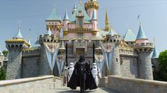 A few degress off from the true concept of co-branding - but Disney bought Lucas Films (amusing view of Star Wars characters at Disneyland)