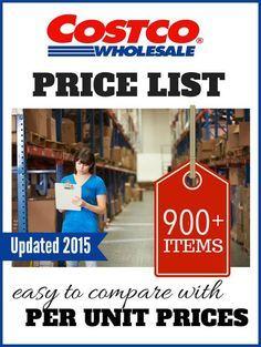 Costco Price List - Prices of items at Costco, per unit, for comparison