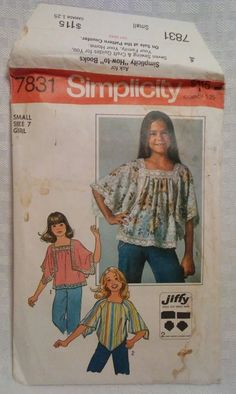 cdc530a5a37f8c Girls Pullover Tops Simplicity  7831 Sewing Pattern  Simplicity Simplicity  Sewing Patterns