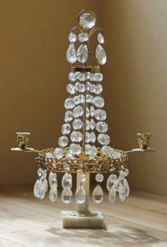 candleabra large glass or crystal | crystal drop two arm brass candelabra