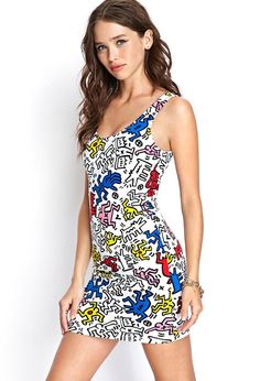 A bodycon tank dress featuring a Keith Haring™ print and cutout back detail. . Officially licensed...