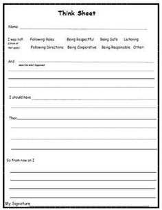 Think Sheet- adjust to leader in me- excellent classroom management resource