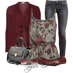 I like the Floral and burgundy in this outfit.