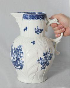 #8075 Early Worcester cabbage leaf jug c1780