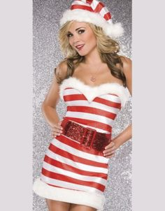 Name : Strapless Stripe Candy Christmas Costume Sales Price : US$ 5.95