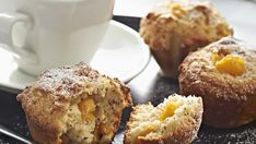 Fluffy peach and poppy seed muffins to share with a neighbour for Neighbour Day on the 25th March