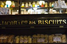 Victorian Jacob & Co. Biscuits display case, Rose & Co. Apothecary, Haworth.  www.roseandcompany.com