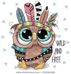 Illustration about Cute Cartoon tribal Owl with feathers on a white background. Illustration of design, hair, background - 129079172 Owl Clip Art, Owl Art, Animal Drawings, Cute Drawings, Cartoon Mignon, Arte Fashion, Owl Feather, Feather Vector, Happy Paintings