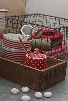 wooden boxes, wire baskets, stripes and dots