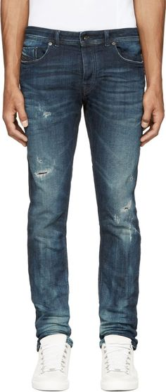Diesel Black Gold Blue Distressed & Creased Type 253 Jeans