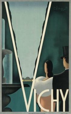 A cidade francesa de Vichy em cartaz art déco de H. Chauffard, feito em 1935. O pôster deve atingir até 3 mil dólares (R$ 6,5 mil) na venda