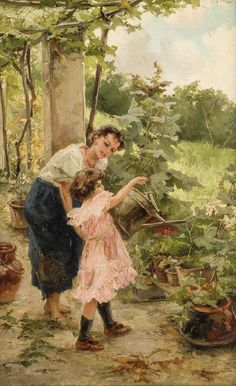 Italienischer Genremaler, um 1880. Im Garten. Öl/Lw. Schwer leserl. sign. o.re. Ph(ligiert). Lan.(?). 56 x 35 cm / R. 90 x 65 cm. Schwerer Goldrahmen (etw. best.)- In einer südlich anmutenden Gartenlandschaft mit Weinlaube unterweist eine junge Frau, schlicht gekleidet und barfuß, ein kleines, sehr gut gekleidetes Mädchen im Blumengießen. Die vorherrschenden, feinen Grün- und Gelbtöne, tw. in Spachteltechnik aufgebracht, kontrastieren stark mit dem, ganz in Rosa gehaltenen Kleid des…