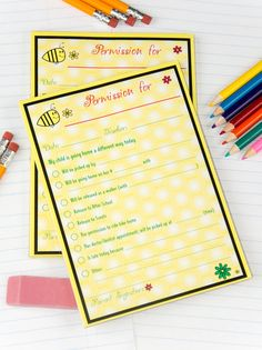 Adorable Permission Pads for sending notes to school in style.  Dozens of themes.  So much better than the usual crayon scribbled on the back of an envelope I usually send! :-)