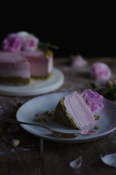 Raw pistachio, strawberry rose cheesecake