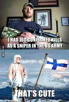 "In Finnish he is called ""Valkoinen kuolema"".  (White death)."