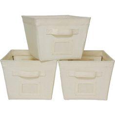 Mainstays 3-Pack Medium Bins - good for closet organization, kids room, nursery, linen closet, office #storage bins #organization