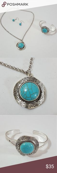 🆕 Silver & Faux Turquoise Statement Set Beautifully Crafted. 3 inch extender on necklace. Included Earrings and Bracelet.  Nickel and Lead Free! Custom Boutique Jewelry Necklaces
