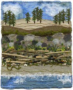 from textile artist Kirsten Chursinoff Fiber Art Quilts, Textile Fiber Art, Textile Artists, Art Quilting, Quilt Art, Landscape Art Quilts, Watercolor Landscape, Landscapes, Fabric Postcards