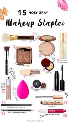 15 Holy Gray Makeup straples. Bronzing brush, finish powder, YSL primer, concealer, foundation brush, shadow, pomade, gloss, eye liner, mascara, lip liner, L'Oreal Primer, drugstore, makeup, beauty, makeup review, makeup products