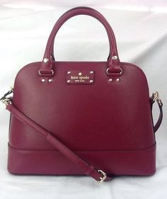 New Kate Spade Small Rachelle Wellesley Red Plum Burgundy Purse Bag Satchel #katespade #Satchel
