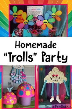 Easy handmade and homemade decorations for a Trolls birthday party GiggleFish_Homemade Trolls party