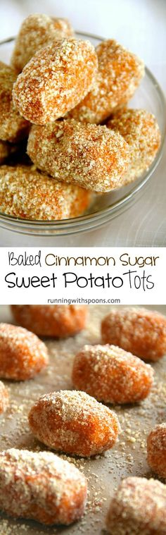 Baked Cinnamon Sugar Sweet Potato Tots -- crispy, tender, and loaded with sweet cinnamon flavour! || runningwithspoons.com #vegan #glutenfree