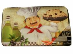 Fat Italian Chef Spaghetti Kitchen Comfort Rug Add a fun addition to your chef themed kitchen with this heavy duty comfort kitchen mat. $29.95