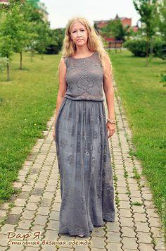 """Купить """"Каменная Роза"""" вязаное платье - платье, платье вязаное, вязаное платье, платье летнее"""