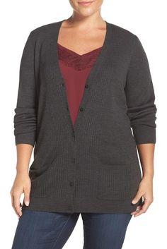 Sejour Ribbed V-Neck Cardigan (Plus Size). #plussize #cardigan #womensfashion   #ad