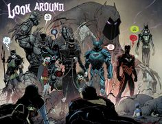 The Dark Knights and their master Barbatos. Illustrated by Greg Capullo in DC's event Dark Nights Metal (From left to right) The Drowned, The Devastator, The Murder  Machine, The Batman Who Laughs(and his pack of vampire Robins), The Merciless, The Red Death, The Dawnbreaker, and Barbatos(in back).