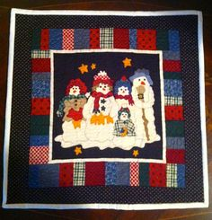 Handmade Snowmen Quilted Table Topper/Small Wall by anniscrafts, $19.99