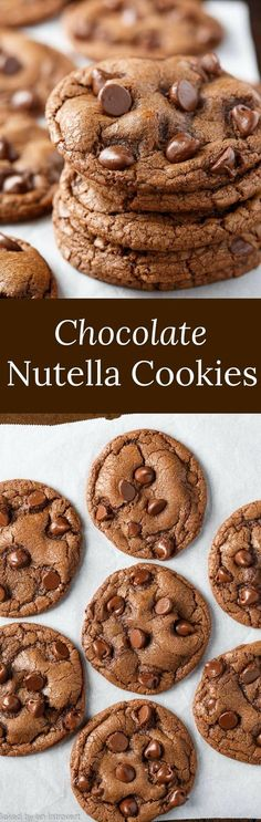 Indulge your sweet tooth with this easy recipe for Double Chocolate Chip Nutella Cookies.  via @introvertbaker